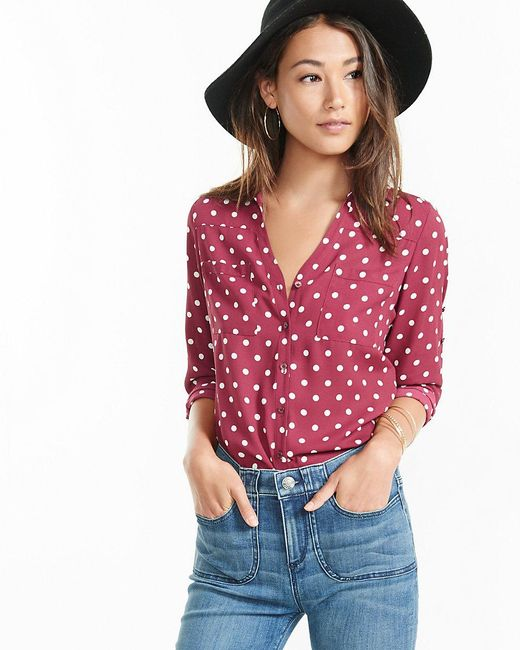 Express slim fit polka dot portofino shirt in red lyst for Express wash roma