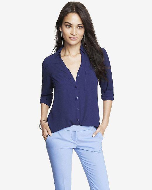 Express | Blue Original Fit Convertible Sleeve Portofino Shirt | Lyst