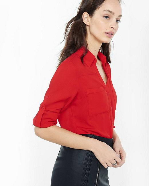 Express | Red Original Fit Convertible Sleeve Portofino Shirt | Lyst