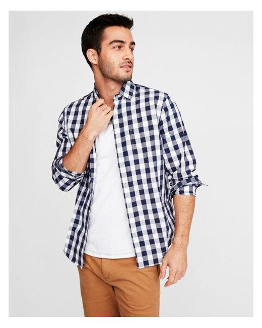 6dade05dad5 Lyst - Express Classic Soft Wash Checkered Shirt in Blue for Men