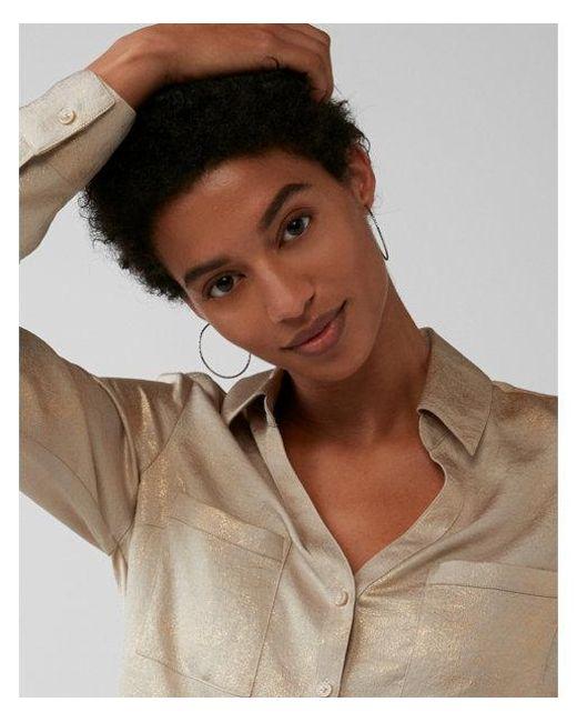 Express | Metallic Slim Fit Satin Portofino Shirt | Lyst