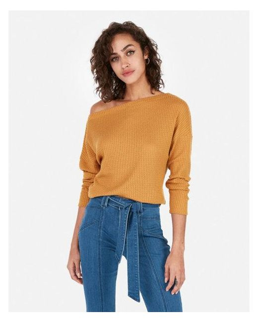 5d58b50fd1d Express One Eleven Off The Shoulder Waffle Knit Tee in Metallic - Lyst