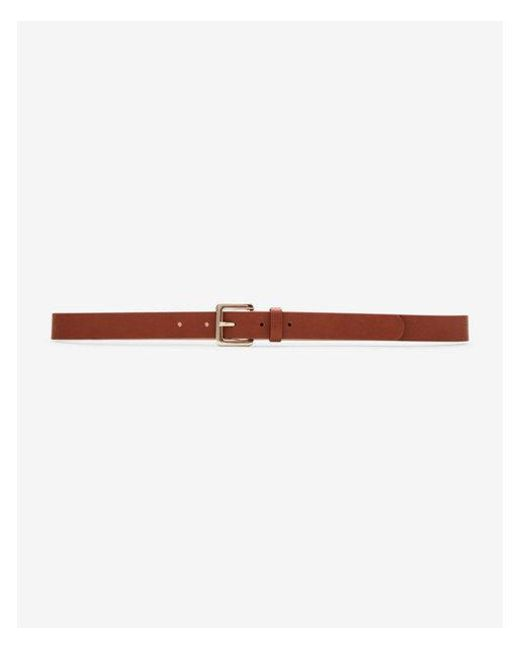 Express - Brown Small Square Buckle Belt - Lyst