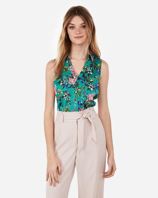 Express Slim Fit Floral Garden Sleeveless Portofino Shirt Green Print