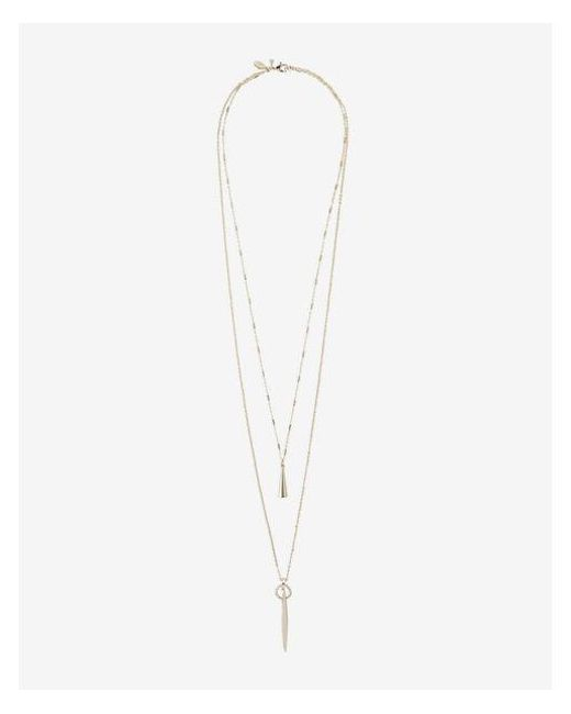 Express - Metallic Delicate Multi Strand Pendant Necklace - Lyst