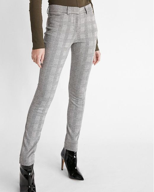 Express Multicolor Mid Rise Plaid Skinny Pant Black And White