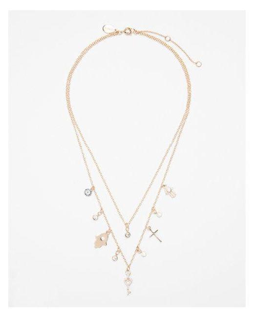 Express | Metallic Double Row Mixed Charm Bezel Necklace | Lyst