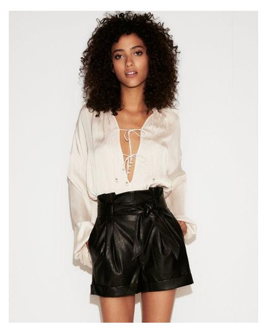 a3b7687b570 Lyst - Express High Waisted Faux Leather Paperbag Shorts in Black