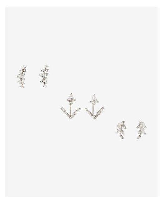 Express - Metallic T Of Three Leaf Arrow Stud Earrings - Lyst