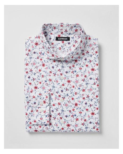 Express - Red Slim Fit Floral Cotton Dress Shirt - Lyst