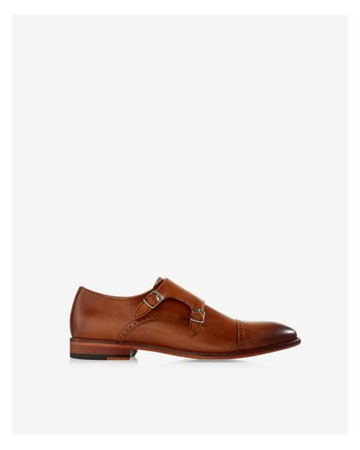 99c6f63046e Lyst - Express Leather Cap Toe Double Monk Strap Dress Shoe in Brown ...