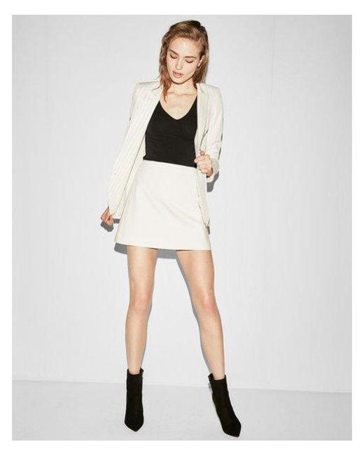 Express - White High Waisted Clean A-line Mini Skirt - Lyst