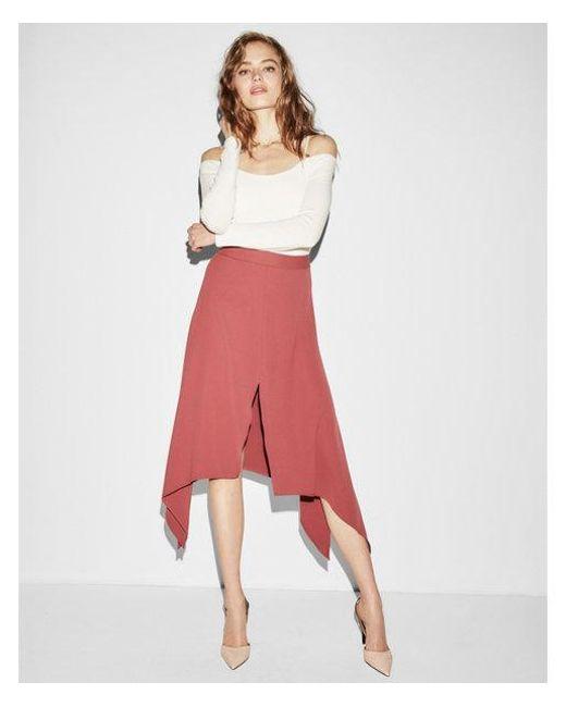 Express - Orange Asymmetrical Slit Front Midi Skirt - Lyst