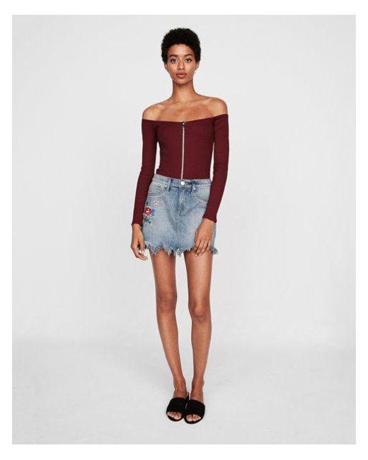 Express - Purple Modern Rib Zip Front Off The Shoulder Thong Bodysuit - Lyst