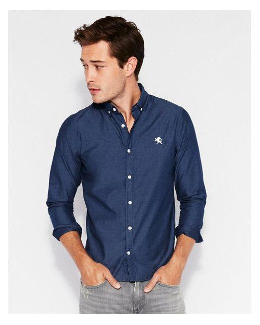 344f3981202 Express - Blue Ig   Tall Classic Solid Small Lion Soft Wash Shirt for Men -