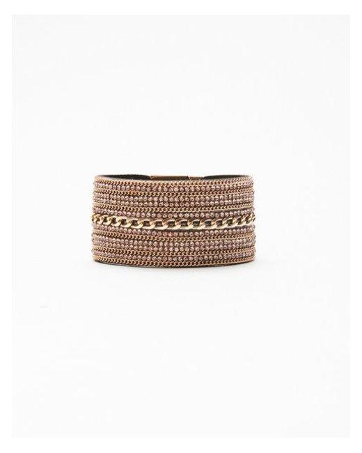 Express - Pink Rhinestone Chain Turnlock Cuff Bracelet - Lyst