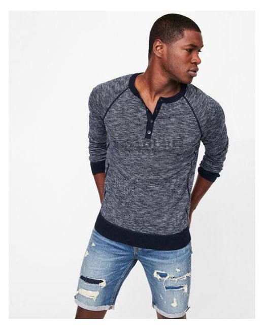 Express - Blue Striped Henley Sweater for Men - Lyst