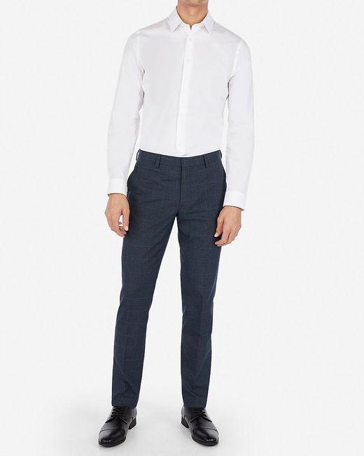 Express Extra Slim Plaid Navy Wrinkle-resistant Stretch Suit Pants Blue W36 L30 for men