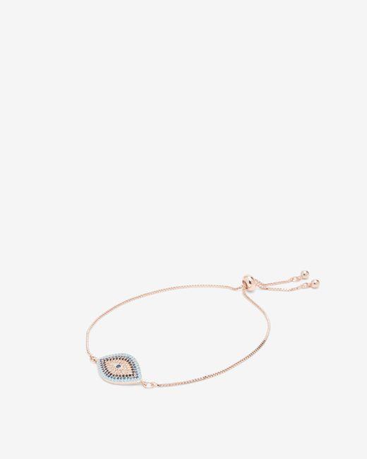 Express - Metallic Cubic Zirconia Evil Eye Pull-cord Bracelet - Lyst