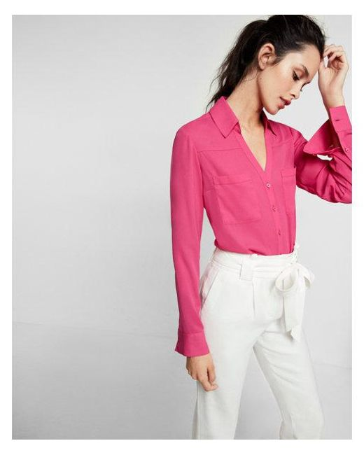 833f4a613796 Lyst - Express Slim Fit Convertible Sleeve Portofino Shirt in Pink