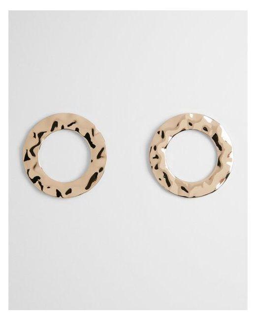 Express - Metallic Hammered Circle Drop Earrings - Lyst