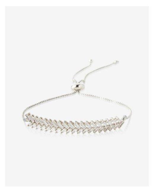 Express - Metallic Metal Zigzag Pull-cord Bracelet - Lyst