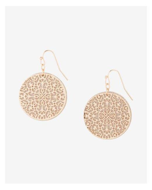 Express - Metallic Round Glitter Filigree Drop Earrings - Lyst