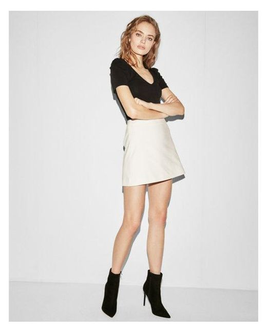 Express - White Petite High Waisted Clean A-line Mini Skirt - Lyst