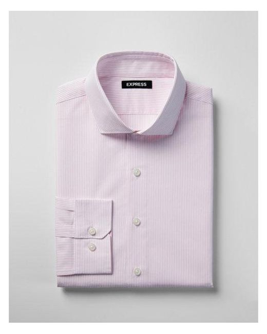 Express Classic Striped Spread Collar Dress Shirt In Pink