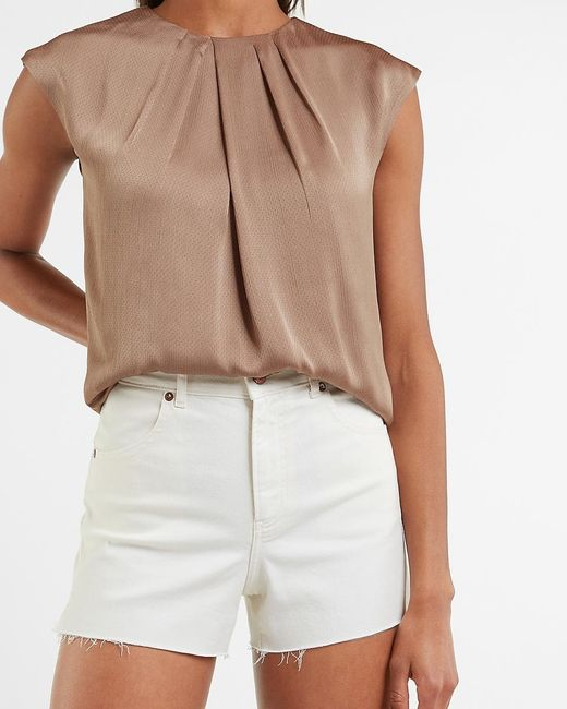 Express Multicolor Textured Satin Gathered Neck Top Neutral S