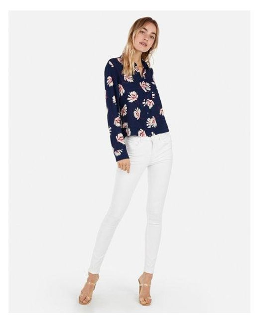 052a399e Lyst - Express Ed Cropped Button-up Shirt in Blue