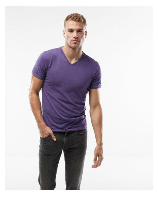 Express - Purple Heathered Flex Stretch V-neck Tee for Men - Lyst