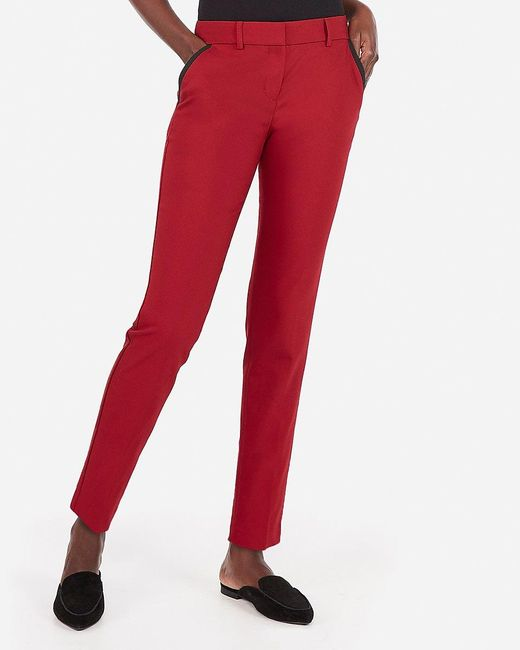 Express Mid Rise Piped Ankle Columnist Pant Red
