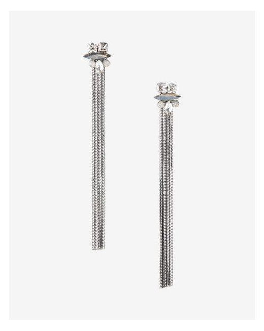 Express | Metallic Mixed Stone Fringe Drop Earrings | Lyst