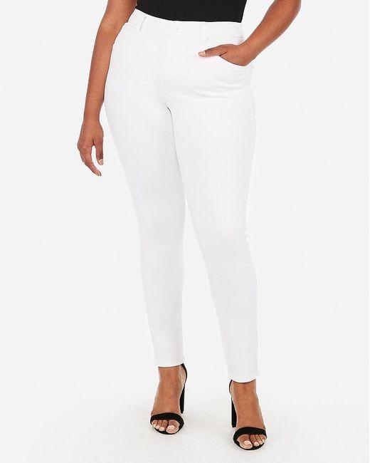 Express High Waisted Denim Perfect Curves White Leggings White