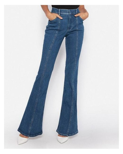 Express - Blue Petite High Waisted Denim Perfect Seamed Bell Flare Jeans - Lyst