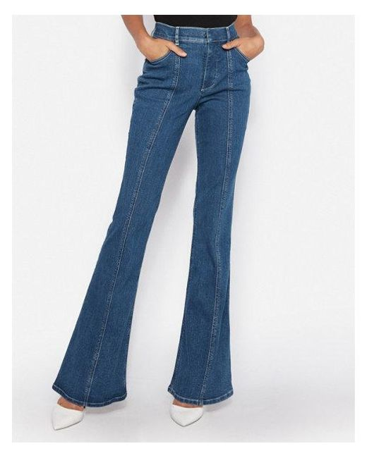Express - Blue Super High Waisted Denim Perfect Stretch+ Bell Flare Jeans, Women's Size:14 Short - Lyst