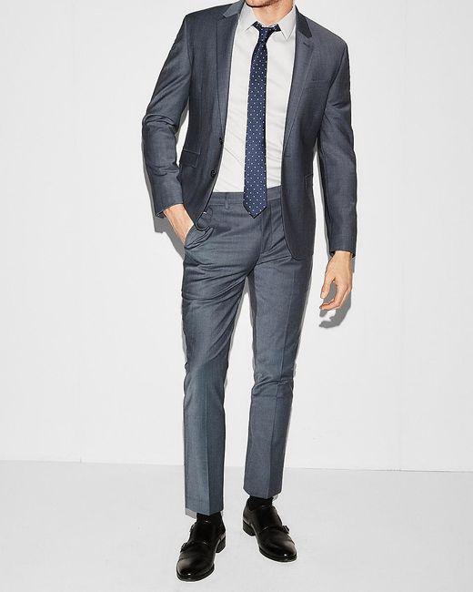 Express Extra Slim Blue Performance Stretch Wool-blend Suit Jacket Blue for men