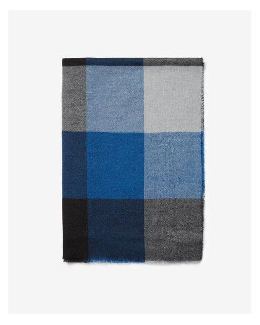 Express - Blue Check Woven Scarf for Men - Lyst