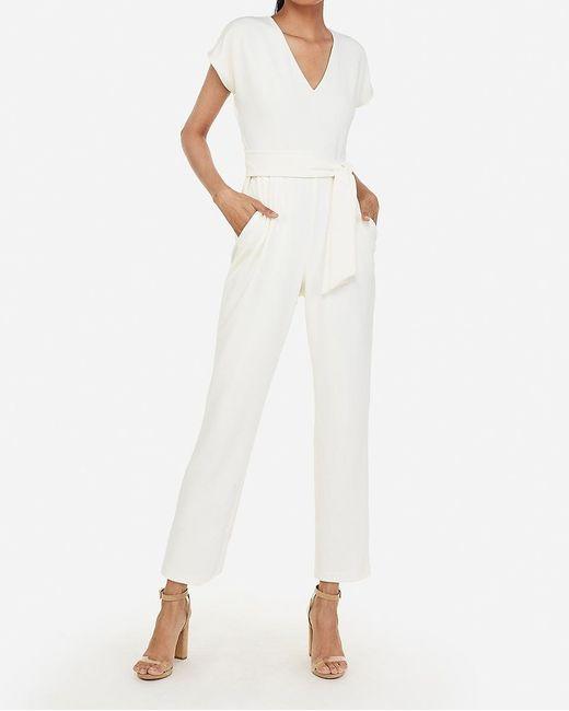 Express V-neck Paperbag Waist Jumpsuit White