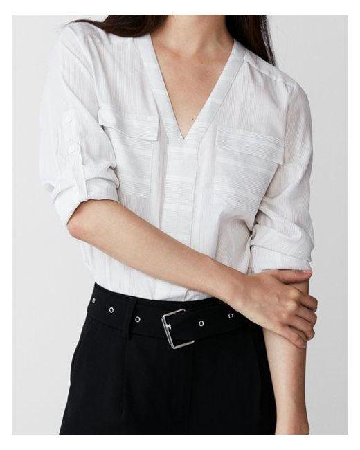 Express - Gray Petite Striped Two Pocket Shirt - Lyst