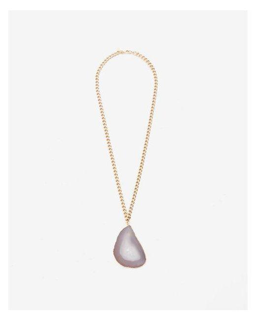 Express | Metallic Enuine Agate Pendant Necklace | Lyst