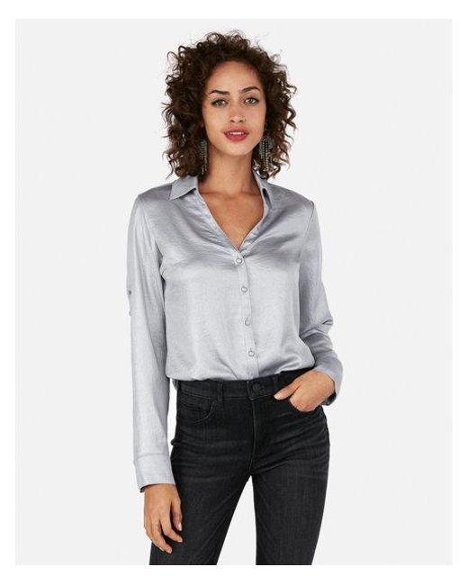 d0763af50e630 Lyst - Express Petite Slim Fit Shimmer Portofino Shirt in Gray