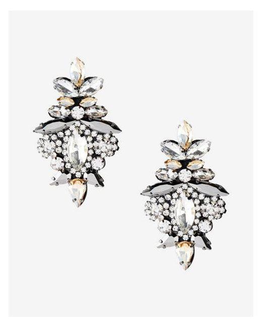 Express - Metallic Ornate Stone Earrings - Lyst