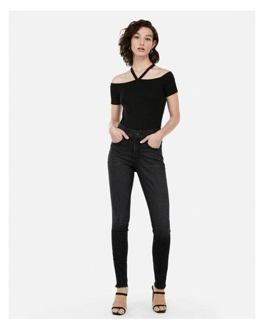 09104fd9cdbc8 Lyst - Express One Eleven Ribbed Strappy Front Off The Shoulder Tee ...