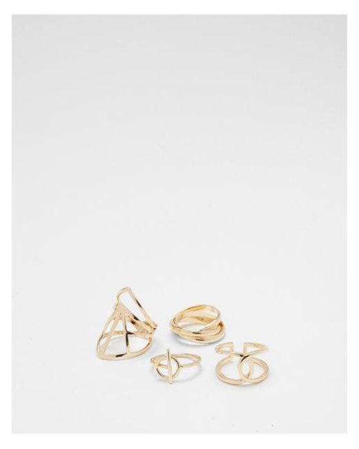 Express - Metallic Set Of Four Cut-out Rings - Lyst