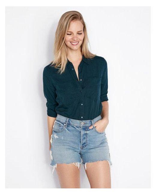 5f2b21ac Express Large Pocket Boyfriend Shirt in Green - Lyst