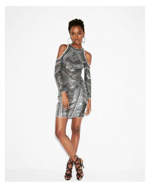 Express - White Sequin Cold Shoulder Dress - Lyst
