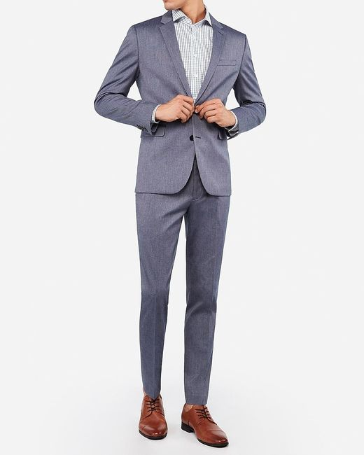 Express Big & Tall Extra Slim Blue Cotton Texture Stretch Suit Jacket Blue 46 Short for men
