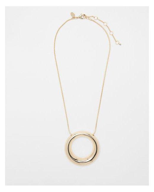 Express - Metallic Thick Metal Circle Necklace - Lyst